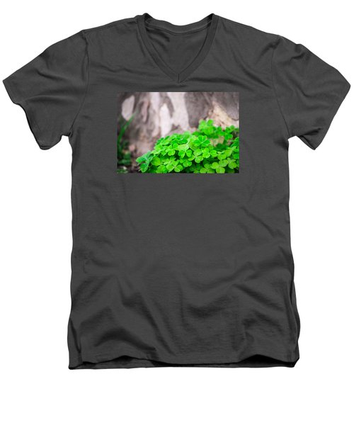 Men's V-Neck T-Shirt featuring the photograph Green Clover And Grey Tree by John Williams