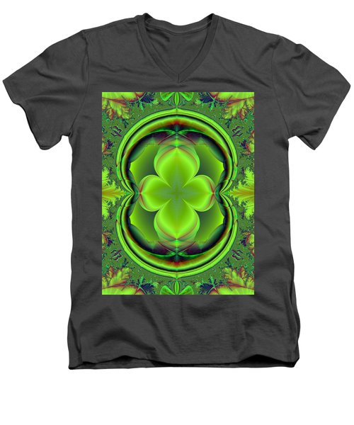 Green Clover Men's V-Neck T-Shirt by Svetlana Nikolova