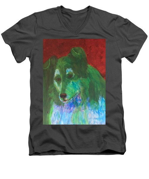 Men's V-Neck T-Shirt featuring the painting Green Collie by Donald J Ryker III