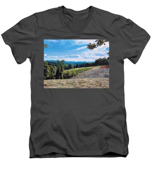 Men's V-Neck T-Shirt featuring the painting Green Country by Joshua Martin