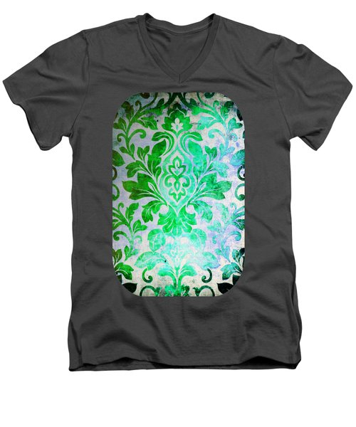 Green Damask Pattern Men's V-Neck T-Shirt