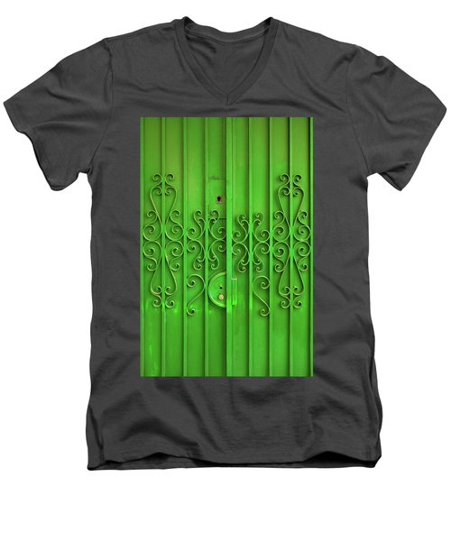 Men's V-Neck T-Shirt featuring the photograph Green Door by Carlos Caetano