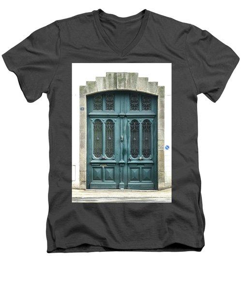 Green Door Men's V-Neck T-Shirt by Helen Northcott