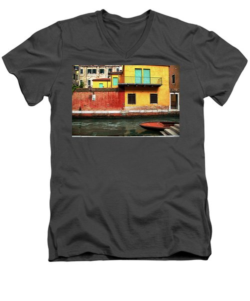 Men's V-Neck T-Shirt featuring the photograph Green Doors by Sharon Jones
