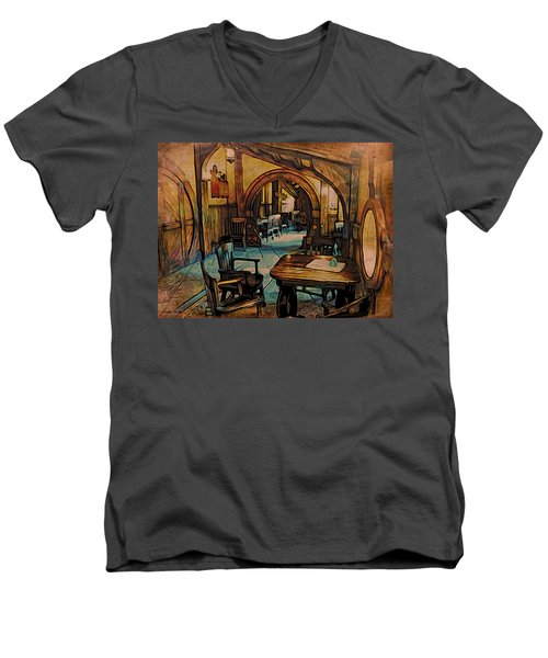 Men's V-Neck T-Shirt featuring the digital art Green Dragon Writing Nook by Kathy Kelly