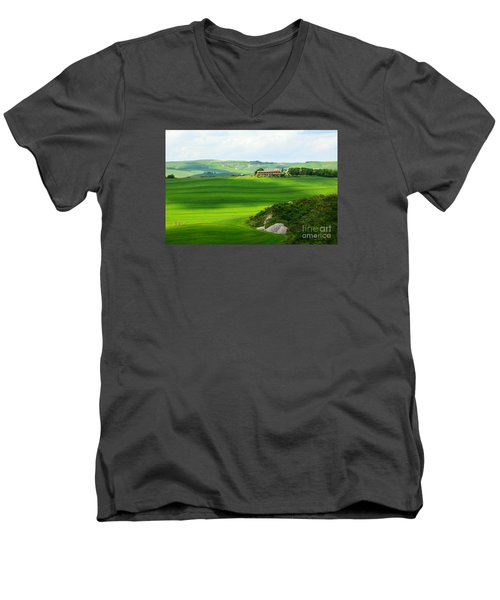 Green Escape In Tuscany Men's V-Neck T-Shirt by Ramona Matei