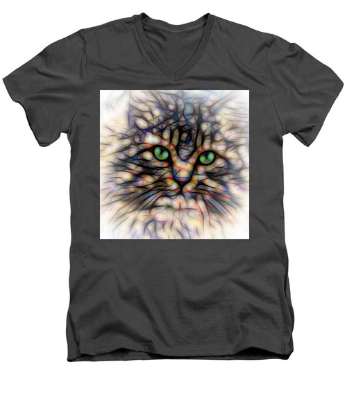 Men's V-Neck T-Shirt featuring the digital art Green Eye Kitty Square by Terry DeLuco