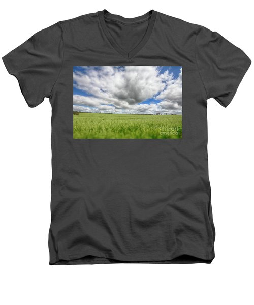 Men's V-Neck T-Shirt featuring the photograph Green Fields 2 by Douglas Barnard