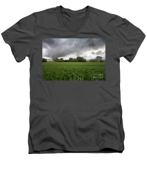Men's V-Neck T-Shirt featuring the photograph Green Fields 5 by Douglas Barnard