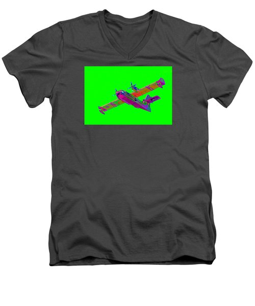 Green Fire Flight  Men's V-Neck T-Shirt