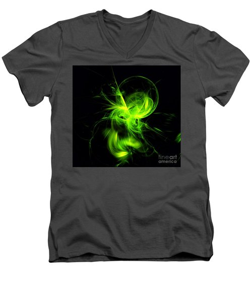 Green Flame Fractal Men's V-Neck T-Shirt