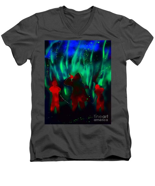 Green Flames In The Night Men's V-Neck T-Shirt by Justin Moore