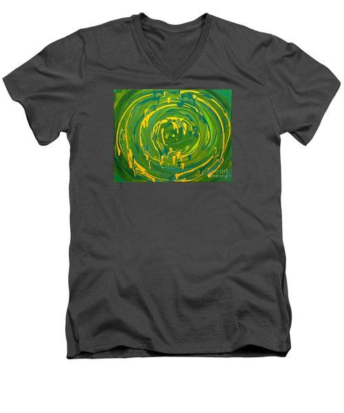 Green Forest Swirl Men's V-Neck T-Shirt