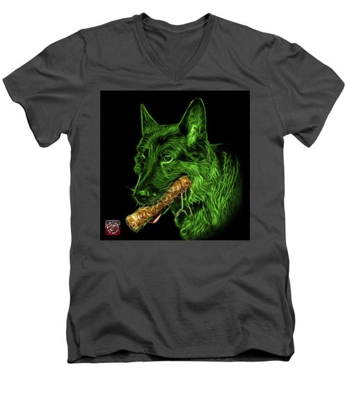 Green German Shepherd And Toy - 0745 F Men's V-Neck T-Shirt by James Ahn
