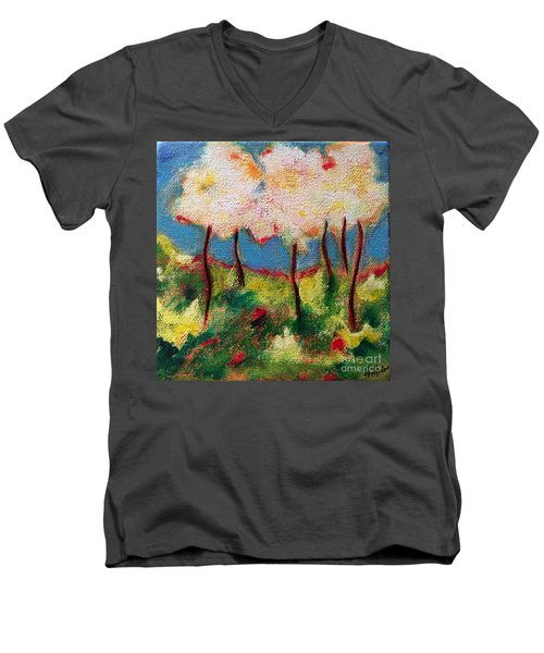 Green Glade Men's V-Neck T-Shirt by Elizabeth Fontaine-Barr