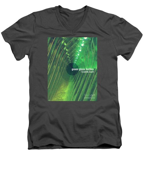 Men's V-Neck T-Shirt featuring the photograph Green Glass Bottles by Phil Perkins