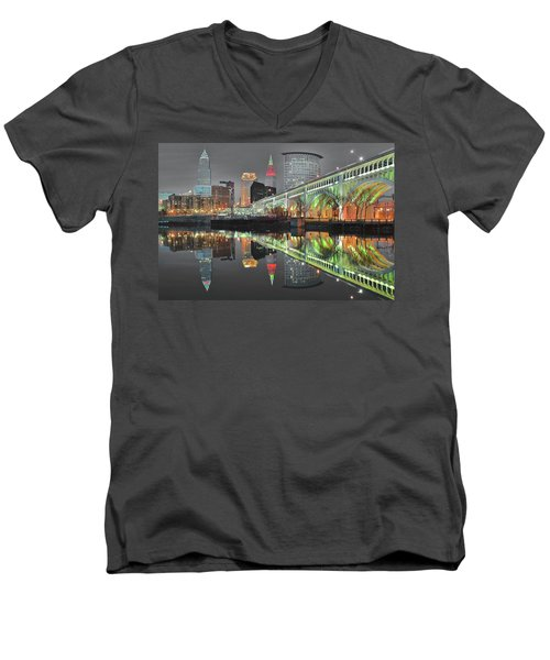 Men's V-Neck T-Shirt featuring the photograph Green Glow by Frozen in Time Fine Art Photography