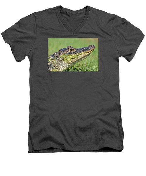 Green Grin  Men's V-Neck T-Shirt by Kathy Gibbons