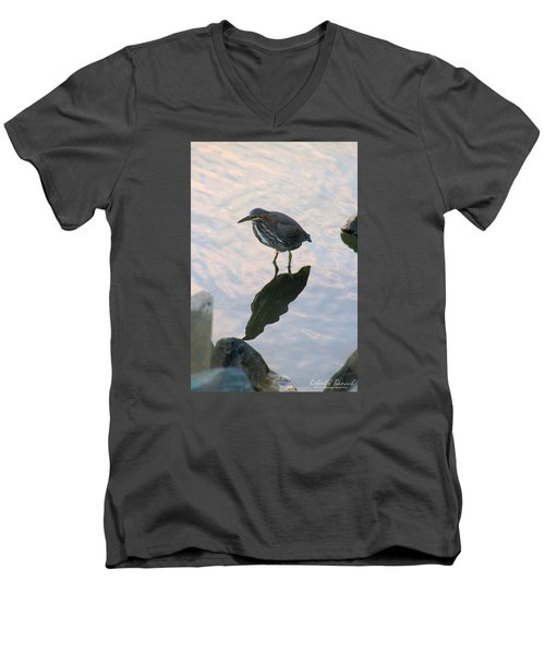 Men's V-Neck T-Shirt featuring the photograph Green Heron In Pink Waters by Robert Banach
