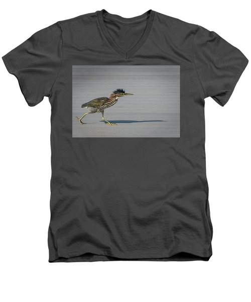 Green Heron On A Mission Men's V-Neck T-Shirt