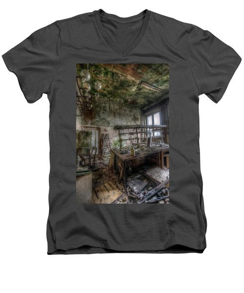 Men's V-Neck T-Shirt featuring the digital art Green Lab by Nathan Wright