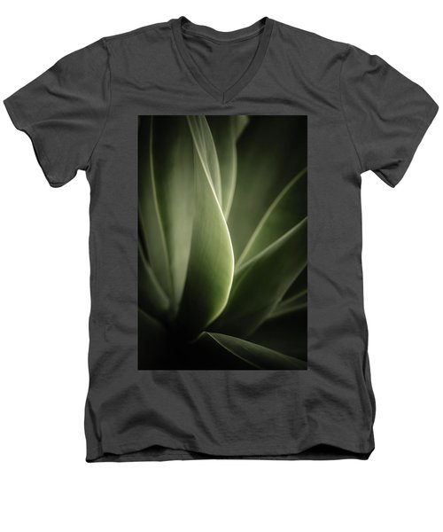 Men's V-Neck T-Shirt featuring the photograph Green Leaves Abstract by Marco Oliveira