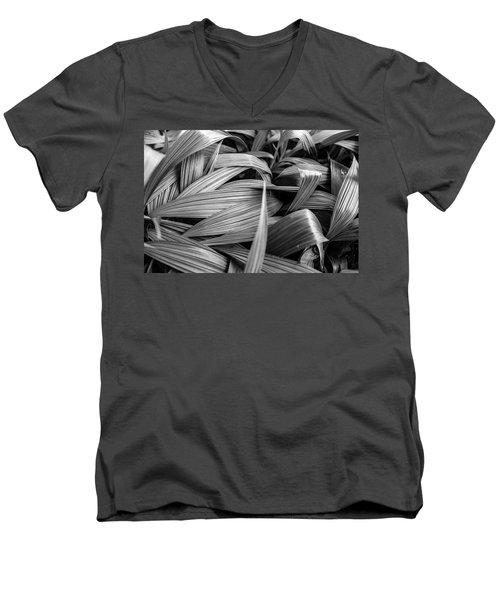 Leaves Textured And Background Men's V-Neck T-Shirt