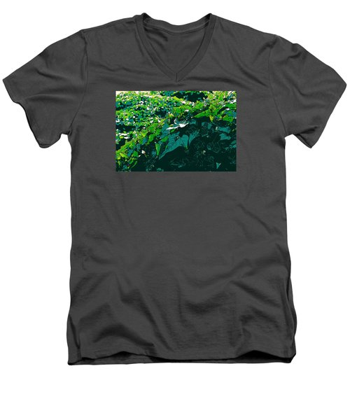 Green Leaves Men's V-Neck T-Shirt by John Rossman