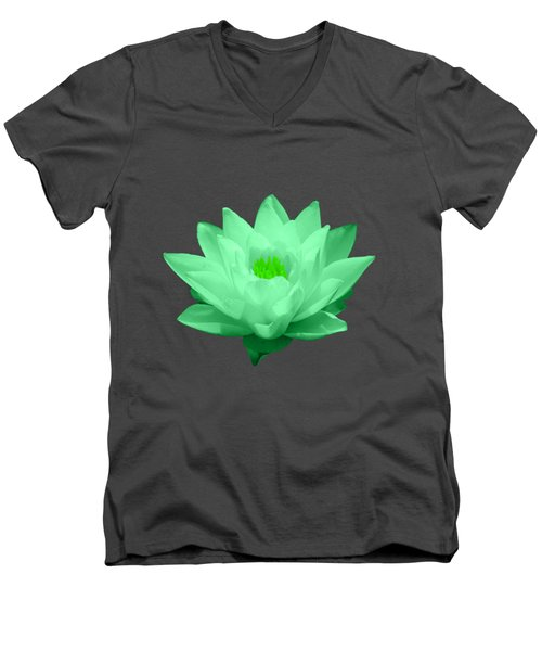 Green Lily Blossom Men's V-Neck T-Shirt by Shane Bechler