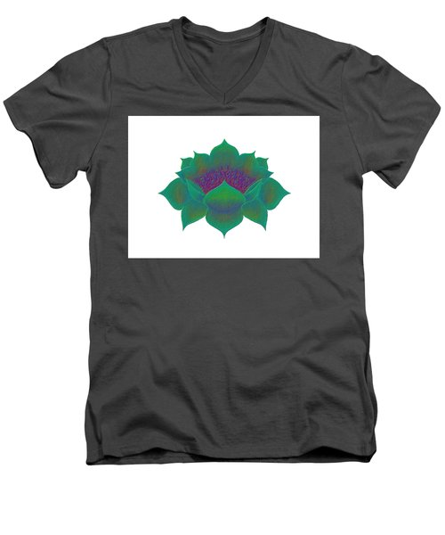 Men's V-Neck T-Shirt featuring the digital art Green Lotus by Elizabeth Lock