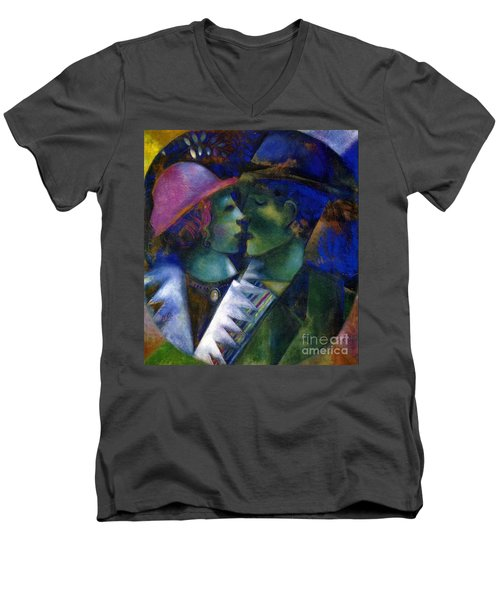 Green Lovers Men's V-Neck T-Shirt by Marc Chagall
