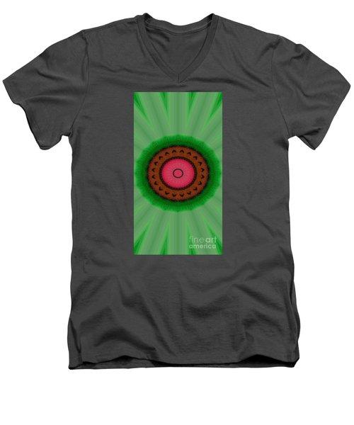Green Mandala Painting By Sariblle Men's V-Neck T-Shirt by Saribelle Rodriguez
