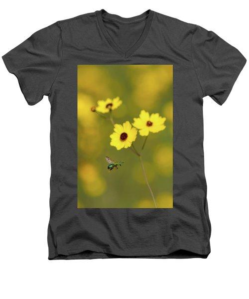 Green Metallic Bee Men's V-Neck T-Shirt by Paul Rebmann