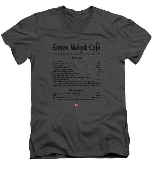 Green Midget Cafe Menu T-shirt Black Letters Men's V-Neck T-Shirt by Robert J Sadler