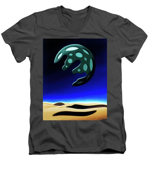 Green Moon Rising Men's V-Neck T-Shirt