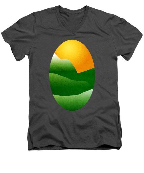 Green Mountain Sunrise Landscape Art Men's V-Neck T-Shirt by Christina Rollo