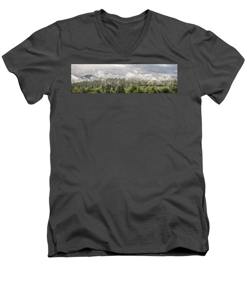 Green Mountains Fog Panoramic Men's V-Neck T-Shirt