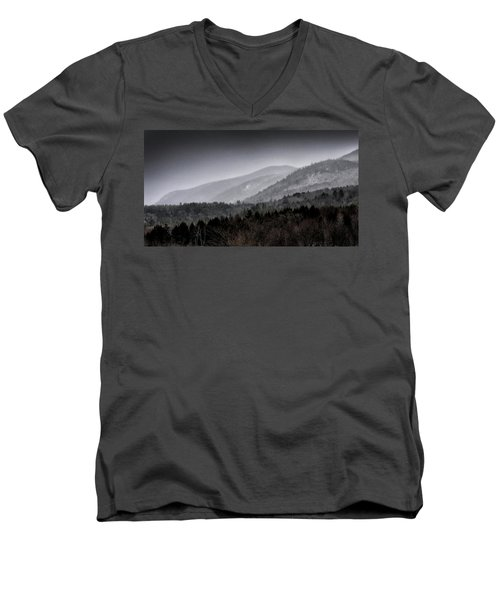 Green Mountains - Vermont Men's V-Neck T-Shirt by Brendan Reals