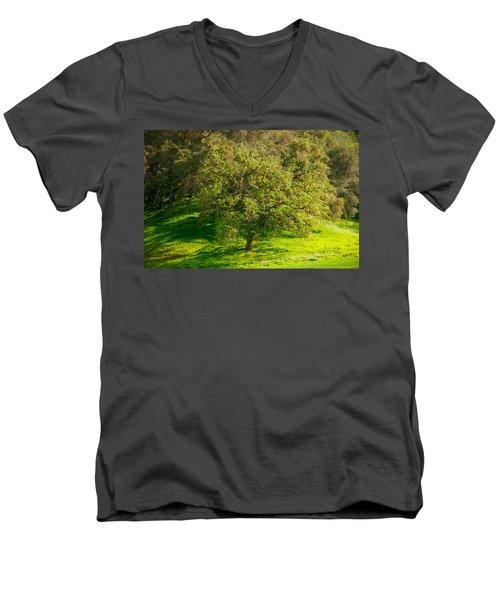 Green Oak Tree And Grasses Men's V-Neck T-Shirt