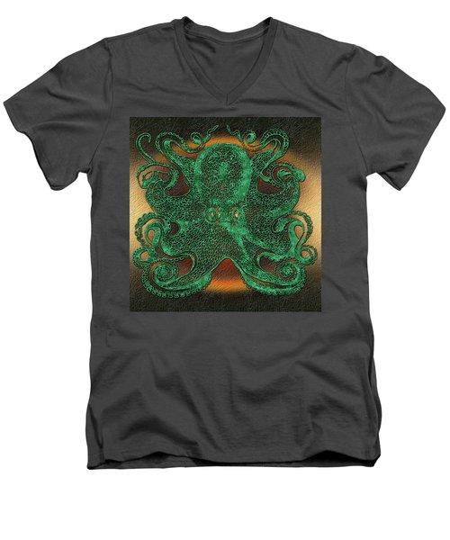 Green Octopus Men's V-Neck T-Shirt