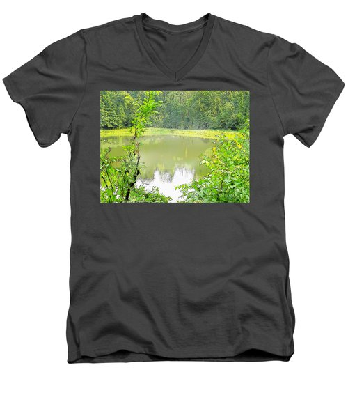 Green On Lake Men's V-Neck T-Shirt