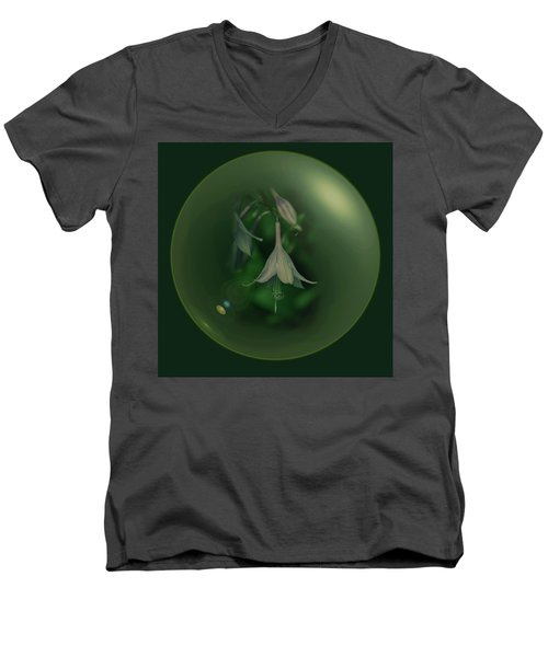 Green Orb Flower Men's V-Neck T-Shirt