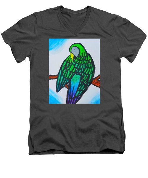 Green Parrot Men's V-Neck T-Shirt by Artists With Autism Inc
