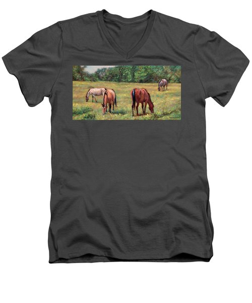 Green Pastures - Horses Grazing In A Field Men's V-Neck T-Shirt by Bonnie Mason