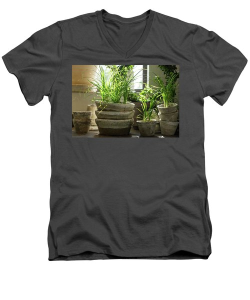 Green Plants In Old Clay Pots Men's V-Neck T-Shirt