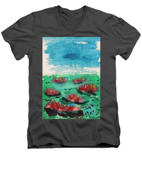Green Pond With Many Flowers Men's V-Neck T-Shirt