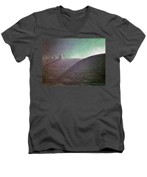 Men's V-Neck T-Shirt featuring the drawing Green Pyramid B by Mayhem Mediums