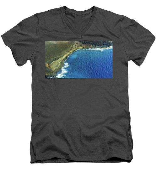 Green Sand Beach Aerial Men's V-Neck T-Shirt