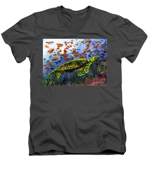 Green Sea Turtle Men's V-Neck T-Shirt by Randy Sprout