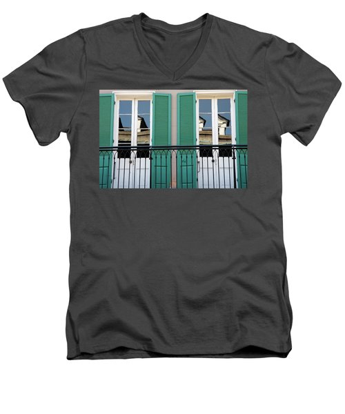 Men's V-Neck T-Shirt featuring the photograph Green Shutters Reflections by KG Thienemann